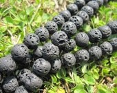 2 str -Black Lava Stone 8mm Round Beads -50pcs/Strand