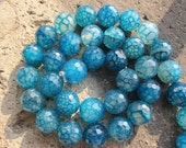 2 strands --Blue Fire Agate 12mm Faceted Round Designer Beads-- 33pcs Full Strand