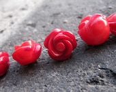 16pcs -12mm Red Coral Hand Carved Flower beads -Full Drilled