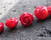 20pcs Red Coral Carved Flower - Full Drilled