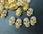 Free Shipping --Wholesale 100pcs --Gold Tone Metal Celebrity Skull spacer 15x20x9mm High Quality crystal rhinestone Pave Spacer Beads