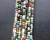 Small Mixed Stones round beads 4mm -98pcs/Strand