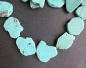 5 Strands-- Howlite in Blue Turquotise Slabs 20x30mm gemstone beads