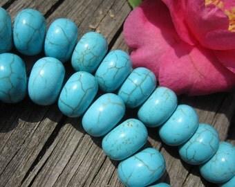 Blue Turquoise Howlite 12mm rondelle beads -50pcs/Strand