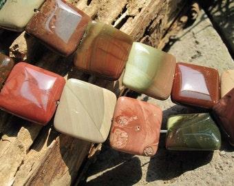 20pcs Full Strand 20x20x6mm NEW Empire Jasper Semiprecious Stone Flat Square Loose beads,Gemstone Beads Pro
