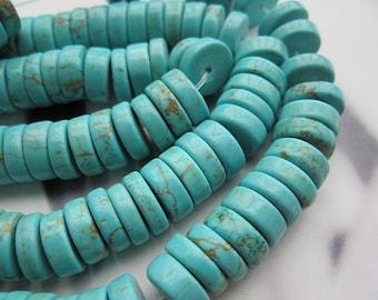Blue Turquoise Howlite 10mm Heishi beads -120pcs/Strand