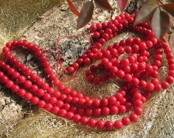 5 str -A Grade Bamboo Red Coral 6mm Round beads