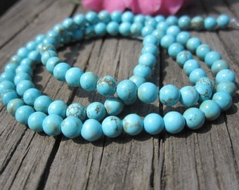 5 str- Turquoise Blue Howlite 4mm Round Beads- 100pcs/Strand