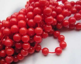 4 Str- A Grade Red Coral 3mm Round Beads