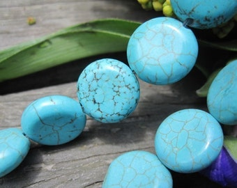 10 str--  Blue Turquoise Howlite Round coin 12mm loose beads-- 34pcs/Strand