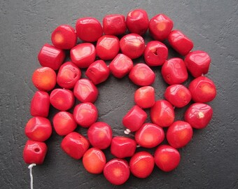 5 Str -Red Coral Nugget Beads oval 10x11x7mm