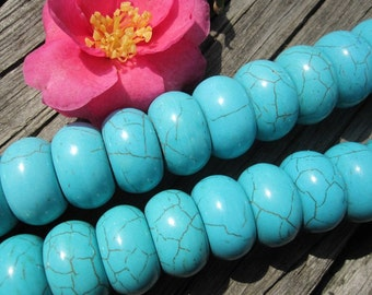 Large Howlite in Blue Turquoise rondelle beads 20x11mm -35pcs/Strand