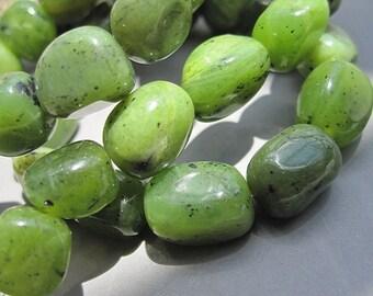 Natural Green Nephrite BC Jade Nugget Beads 7x9mm -39pcs/Strand