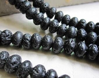 Black Lava Stone 10x6mm Rondelle Beads -68pcs/Strand