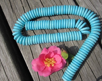 Blue Turquoise Howlite 14mm Heishi Disk Coin beads -120pcs/Strand