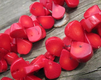 Red Coral Freeform Flat Teardrop Beads 13x16mm- top drilled -100pcs/Strand