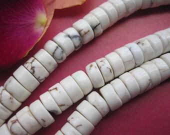 3 str -White Howlite heishi beads 6mm- 130pcs/Strand