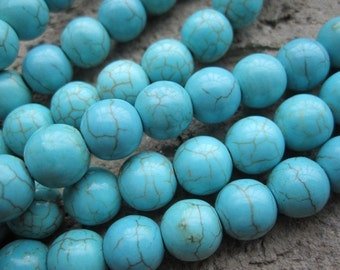 3 str --Howlite in Blue Turquoise 8mm Round Ball beads