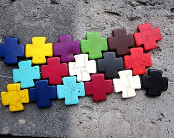 5str -Multi Color Howlite Turquoise Puzzle Cross Beads 20x20mm -20pcs/Strand