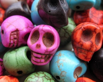 7 str- in 7 Colors- Howlite Skull Beads 10x12x11mm- 34pcs/Strand