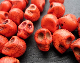 Orange Howlite Skull beads 10x12x11mm- 34pcs/Strand