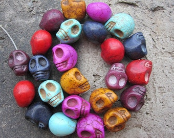 MIXED 6 Colors Turquoise Howlite Skull beads 14x18x17mm-- 24pcs /Strand -42CM Extra long