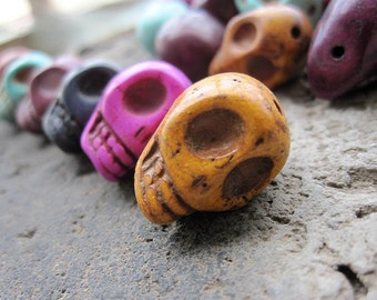 MIXED 6 Colors Howlite turquoise Skull beads 14x18x17mm- 24pcs/Strand- 42CM Extra long