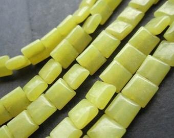 2 Str- Yellow Lemon Jade Flat Square SMALL 6x6x3mm beads-- 64pcs/Strand