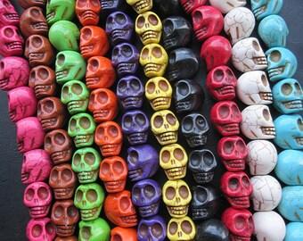10 str -10 colors Large Howlite Turquoise Skull beads 17x22x21mm- 18pcs/Strand