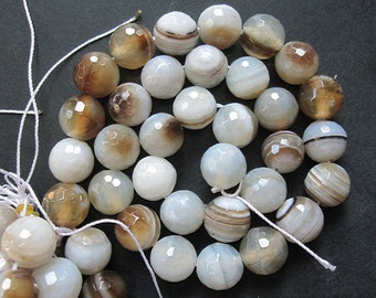 2 str -Coffee White Stripes Agate 12mm Round Beads Faceted- 33pcs/Strand