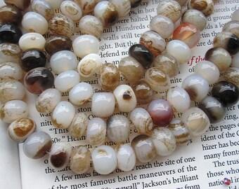 3str- Smoky brown White Agate Rondelle beads 10x12mm -38pcs/Strand