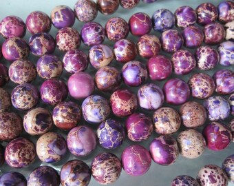 Purple Sea Sediment jasper Round Beads 12mm -33pcs/strand