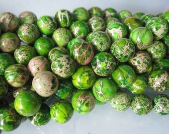 2 str -Green Sea Sediment Jasper 12mm Round beads -33pcs/strand