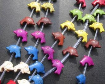 5 Str -Multi Color Howlite Dolphin charm beads 20x15mm- 19pcs/Strand