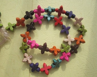 5 Str -Assortment Colorful Howlite Cross beads 15x15mm- 28pcs/Strand