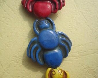 5 Strands --Assortment Colors Howlite spide 30x34mm Designer Beads-- 13pcs Full Strand