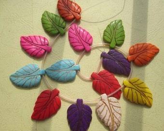 5 Str -Multi Color Howlite Leaves Charm Beads 18x42mm- top drilled- 13pcs/Strand