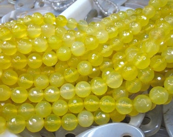 2 str -Yellow Agate 10mm Round Beads Faceted- 38pcs/Strand