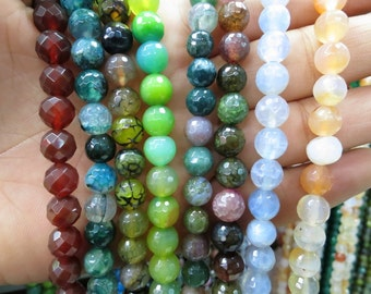 Free Fast Shipping USA only- 50 str -Agate 8mm Round Faceted Beads- Pick Yours
