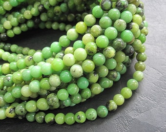 2 str- Green Chrysoprase 4mm Round beads- 95pcs/strand