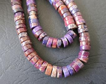 2 str -Purple Sea Sediment Disc Heishi Beads 6x3mm -140pcs/strand