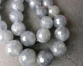 Gray Jade round beads FACETED