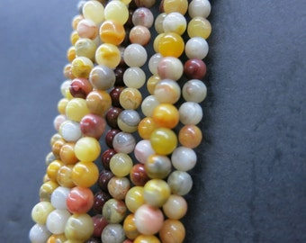 3 str -Yellow Crazy Agate Small round ball beads 4mm -98pcs/Strand