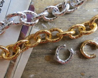 20 ft Gold Silver Aluminum Jewelry Textured Oval Link Chains 8x10mm - K1423