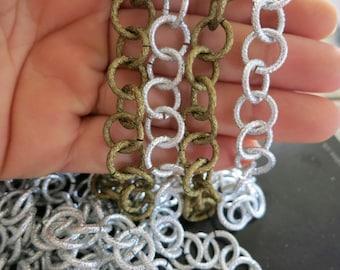 20ft Bronze Silver Aluminum Jewelry 12mm Round Chain - K14615