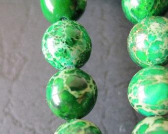 2 str -Forest Green Sea Sediment Jasper 8mm round beads- 50pcs/Strand