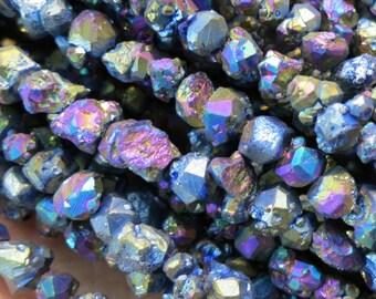 Titanium Rainbow Citrine Nugget chips beads 6-8mm