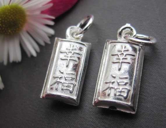 4pcs 3D Cute 925 sterling silver XingFu Happiness Pendant 6x13x3.5mm