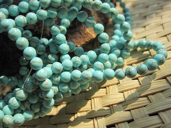 Bulk Wholesale 5 Strands --Howlite in Blue Turquoise TINY SMALL 3mm Round beads-- 125pcs Full Strand