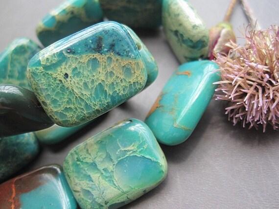 20pcs Full Strand NATURAL Serpentine Jasper 15x20x6mm Flat Rectangle loose beads